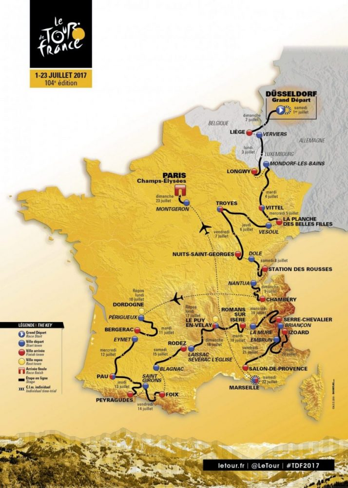 Маршрут на Тур Дьо Франс 2017