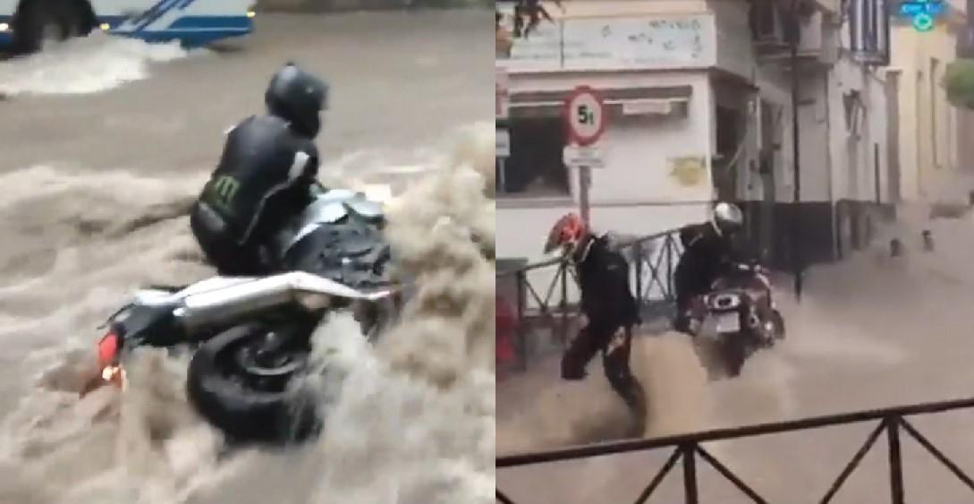 Шокиращи кадри на мотоциклетисти, борещи се с пороите в Западна Европа (видео)